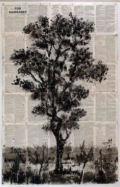 William Kentridge, For Margaret, Indian ink on Universal Technological Dictionary (or Familiar Explanation of the terms) used in all Arts and Sciences, George Crabb, 186 x 16 cm Collages, South African Artists, Seascape Paintings, Landscape Illustration, Gravure, Tree Art, Fractal Art, Photo Art, Art Drawings