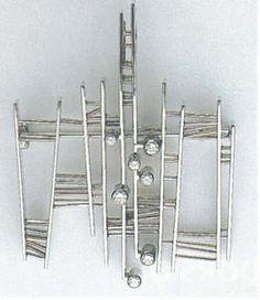 Kurt Aepli pendant/brooch, white gold and diamonds. Switzerland, ca. 1970.
