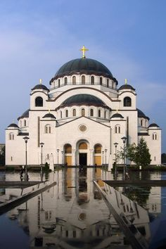 Archbishopric of Belgrade and Karlovci (Serbian Cyrillic: Архиепископија београдско-карловачка) is an archbishopric of the Serbian Orthodox Church, seated in Belgrade, Serbia. The head of the Bishopric is the Patriarch of Serbia. Byzantine Architecture, Church Architecture, Places Around The World, Around The Worlds, Belgrade Serbia, Cathedral Church, Old Churches, Church Building, World Images