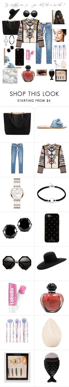 """Try everything"" by rou26 ❤ liked on Polyvore featuring Ancient Greek Sandals, Off-White, Tory Burch, Movado, West Coast Jewelry, Kate Spade, Maison Michel, Christian Dior, Lime Crime and New Look"