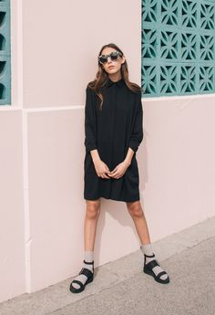 "The Dreslyn ""Play It Right"" look book // sunglasses editorial, white tortoise sunglasses, illesteva, shaina mote, helmut lang sandals, socks and sandals, the dreslyn"