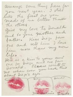A letter from Frida Kahlo to Emmy Lou Packard who hosted Diego Rivera while he was painting a mural at City College of San Francisco in October Diego Rivera, Frida E Diego, Frida Art, Natalie Clifford Barney, Clemente Orozco, Alexander Calder, Handwritten Letters, Cursive, Lost Art