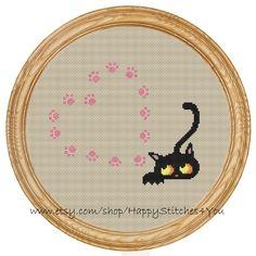 Cross Stitch Pattern PDF cat and hearts DD0145 $6.15