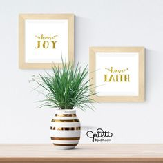 Choose JOY sign/ Gold Foil Sign, Bible Verse Wall Art/ Printable Wall Art/ Inspirational Wall Art, Set of 2 Prints / Gold Wall Decor, Diy Framed Art, Gold Wall Decor, Joy Sign, Rustic Frames, Bible Verse Wall Art, Square Art, Foil Art, Christmas Gift For You, Choose Joy
