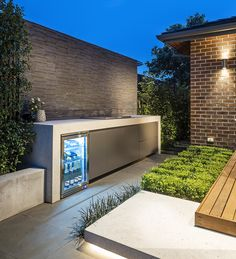 Our Canterbury project is an Entertainers Delight. Combining a modern outdoor living space with a refurbished in-ground concrete swimming pool. Outdoor Bbq Kitchen, Backyard Kitchen, Outdoor Kitchen Design, Outdoor Barbeque Area, Backyard Patio Designs, Modern Backyard, Outdoor Grill Station, Residential Landscaping, Outdoor Living Rooms