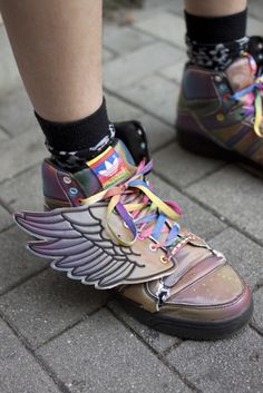 If gravity happens I'll fasten wings to my shoes~Kate voegele Percy Jackson Crafts, Percy Jackson Fandom, Jeremy Scott Adidas, Pumped Up Kicks, Indie Fashion, Fashion Styles, Harajuku Fashion, All About Fashion, Alternative Fashion