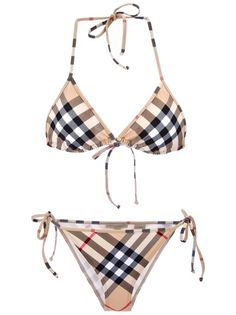 BURBERRY BRIT 'House' Check BikiniBoutiqueAl Duca d'Aosta, Venezia, Italy DescriptionNude checked bikini from Burberry Brit featuring a contrasting black and red signature 'house' check design and self tie cords at the neck and hips