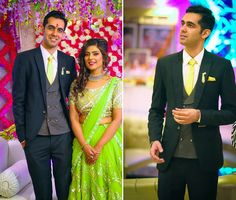A black suit and a grey waistcoat for Groom Aditya Malhotra of WeddingSutra. Photos Courtesy- Happyframes Photography & Films #WeddingSutra #groom #indiangrooms #wedding #indianwedding #Indian #suit #black