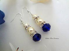 Swarovski Pearl Royal Blue Crystal Earring by DebraAnnCreations