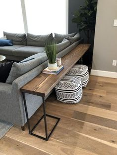 DIY Sofa Tisch - Brooklyn Nicole Homes Wohnkultur . - DIY Sofa Table – Brooklyn Nicole Homes Home decor – home decor diy DIY Sofa Tis - Diy Sofa Table, Sofa Tables, Long Sofa Table, Coffee Tables, Wood Table, Coffee Table Ottoman, Coffee Table Storage, Sofa Table Design, Dark Wood Dining Table