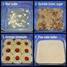 Easy Pineapple Upside-Down Cake - things to make - Best Cake Recipes Pinapple Cake, Pineapple Upside Down Cupcakes, Pineapple Desserts, Pineapple Upside Down Cake Recipe Betty Crocker, Pineapple Upside Down Cake Recipe From Scratch, Easy Desserts, Delicious Desserts, Yummy Food, Tasty