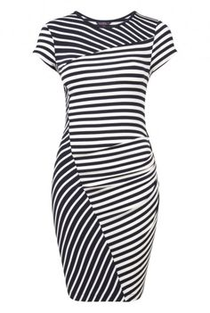 Cut About Stripe Jersey Tunic. Short sleeved mixed stripe tunic in an easywear stretch jersey. With asymmetric panels and pleating for a neat flattering fit. Tall Dresses, Nice Dresses, Short Sleeve Dresses, Women's Dresses, Clothing For Tall Women, Clothes For Women, Striped Jersey, Striped Knit, Curvy Dress