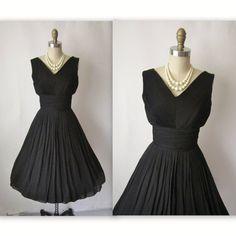 1950's black cocktail dresses | Cocktail Dress // Vintage 1950's Pleated Black Chiffon Full Cocktail ...