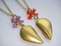 Pair of Vintage Brass Half Heart Locket ... for my girls?