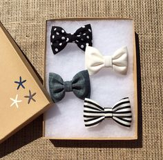 Black dot, black and white striped, denim, and winter white Seaside Sparrow hair bow lot.  Brandy Melville inspired colors. on Etsy, $13.50