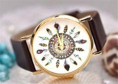 Better Dealz Damen Lässig Armbanduhr Feder Blatt Indianerstamm-Stil Quarzuhr aus Leichtmetall Lederarmband Analoge Uhr Watch,Kaffee: Amazon.de: Uhren
