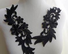 Venise Lace Floral Applique Pair in Black for Dress by FabricTrims