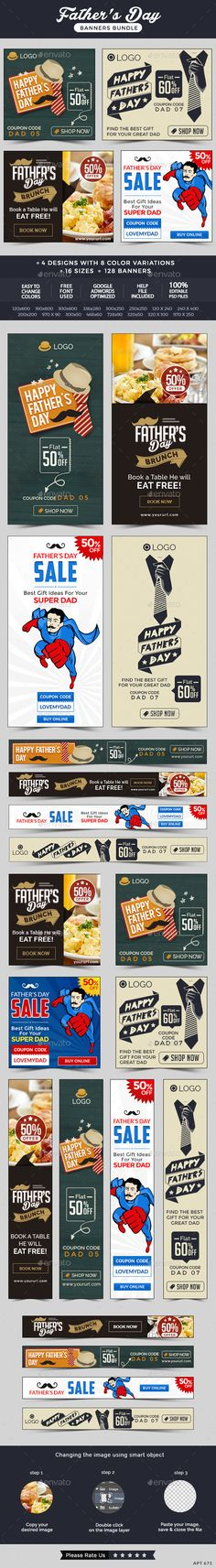 Father's Day Sale Banners Bundle - 128 Banners Template #design Download: http://graphicriver.net/item/fathers-day-sale-banners-bundle-128-banners/11717267?ref=ksioks