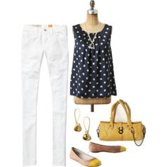 White Jeans..again Navy and Yellow