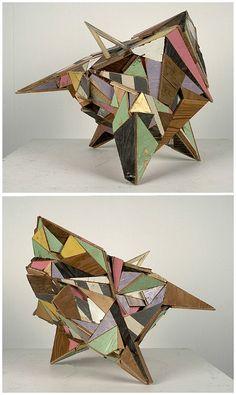 Art with Wood: Geometric reclaimed wood sculpture by Aaron Moran Cubist Sculpture, Cardboard Sculpture, Sculptures Céramiques, Wood Sculpture, Bronze Sculpture, Sculpture Projects, Art Projects, Photo Projects, Arte Madi