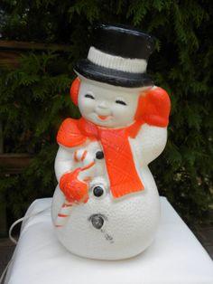 vintage snowman blow mold, vintage Poloron, Christmas decor, Winter decor, 13 inches