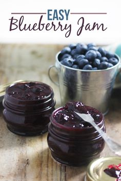 This Easy Blueberry Jam is thickened with chia seeds, lightly sweetened, and delicious! It's free of refined sugars and is a fabulous healthy alternative to traditional jam.