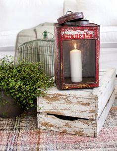 Birdcages, candles and old wooden crates. Oh so shabby chic. Rustic Lanterns, Vintage Lanterns, Candle Lanterns, Rustic Charm, Rustic Style, Rustic Decor, Vintage Decor, Light My Fire, Beautiful Interior Design