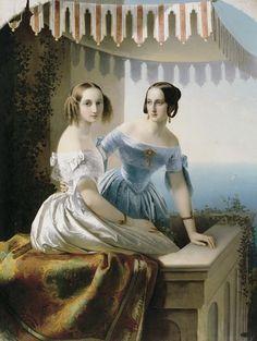 Carl Timoleon von Neff - Grand princesses Mariya Nikolayevna and Olga Nikolayevna