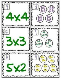 Matching Game Here's a set of cards to practice matching multiplication problems to pictorial models.Here's a set of cards to practice matching multiplication problems to pictorial models. Learning Multiplication, Teaching Math, Multiplication Problems, Math For Kids, Fun Math, Math Resources, Math Activities, Education Positive, Math Groups