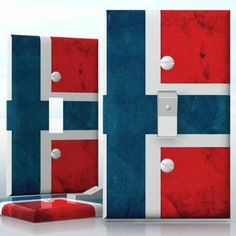 DIY Do It Yourself Home Decor - Easy to apply wall plate wraps | Norwegian Grunge Flag  Flag of Norway  wallplate skin sticker for 1 Gang Toggle LightSwitch | On SALE now only $3.95