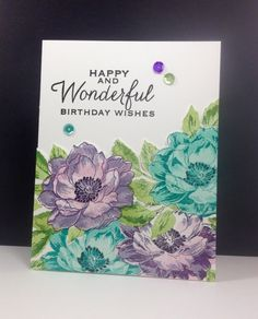 Beautiful Day: Altenew, masking, flower panel popped up, flower sketch, by beesmom at splitcoast Altenew Cards, Stampin Up Cards, Card Making Inspiration, Making Ideas, Beautiful Birthday Wishes, Watercolor Cards, Flower Cards, Greeting Cards Handmade, Homemade Cards