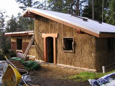 Straw bale house- raw bales