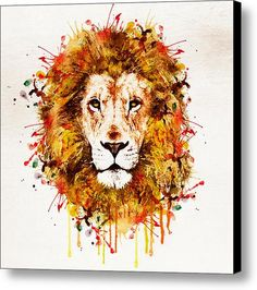 Lion Head Watercolor Canvas Print / Canvas Art By Marian Voicu