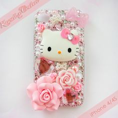 Hello Kitty Pink Roses & Bows iPhone 4/4S Case | $50.00 SHOP: www.etsy.com/shop/kawaiixcoutureHandmade decoden phone cases, jewelry, & accessories ♡