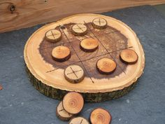 Natural Rustic Wooden Tic Tac Toe or Noughts by StairLodgeSupplies, $20.00