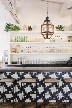 Gracias Madre Restaurant, West Hollywood, Los Angeles: the dramatic bar front is clad in black-and-white encaustic tile from Oaxaca, Mexico Design Exterior, Interior And Exterior, Brown Interior, Modern Interior, Commercial Design, Commercial Interiors, Home Design, Design Blogs, Design Ideas