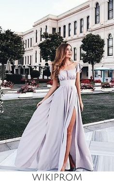 2019 Prom Dress Straps A Line Floor Length With Ruffles And Slit Chiffon Skirt, This dress could be custom made, there are no extra cost to do custom size and color