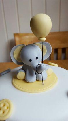 Baby shower cake sugar elephant elephant and balloon cake