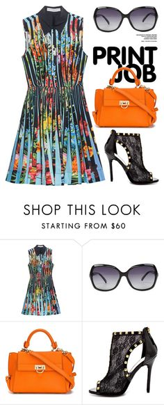 """""""Floral Print 1316"""" by boxthoughts ❤ liked on Polyvore featuring Mary Katrantzou, Salvatore Ferragamo and Bebe"""