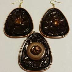 Boucles d'oreille et pendentif assortis  en capsule de thé spécial t en aluminium