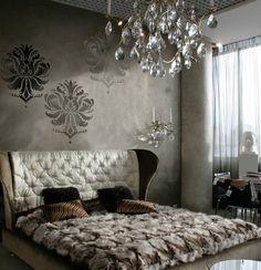 Damask Stencil Gabi's Brocade MED - stencils for walls, furniture and fabric. $37.95, via Etsy.
