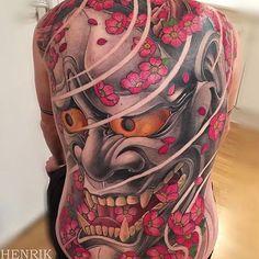 Japanese back tattoo by @henriktattoo. #japaneseink #japanesetattoo #irezumi #tebori #colortattoo #colorfultattoo #cooltattoo #largetattoo #backtattoo #hannya #hannyatattoo #flowertattoo #cherryblossomtattoo #newschool #newschooltattoo #wavetattoo #naturetattoo
