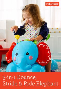 "Meet the 3-in-1 Bounce, Stride & Ride Elephant - a busy buddy packed with rewarding lights, music, sounds and soft ears that move as baby does. Three ""grow-with-me"" stages include: 1. Bouncing up & down; 2. Steadying first steps as a walker; 3. Baby-powered ride-on. Ages 9-36 months."