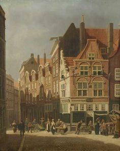 """De Grotemarkt op marktdag met het huisje """"In Duysent Vreesen"""" Rotterdam, City, Painting, Painting Art, Cities, Paintings, Painted Canvas, Drawings"""