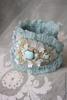 Amazing handcrafted accessories by Irena Gasha Bracelets Bleus, Fabric Bracelets, Lace Bracelet, Bracelet Cuir, Handmade Bracelets, Handmade Jewelry, Beaded Bracelets, Lace Jewelry, Textile Jewelry