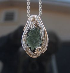 Handmade Moldavite wire wrap / wire wrapped jewelry by TendaiDesigns