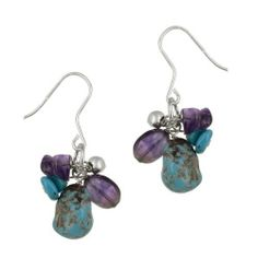 Sterling Silver Turquoise and Amethyst Cluster French Wire Earrings Amazon Curated Collection. $22.00. Gemstones may have been treated to improve their appearance or durability and may require special care. clean with a damp cloth. The natural properties and composition of mined gemstones define the unique beauty of each piece. The image may show slight differences to the actual stone in color and texture. Save 70% Off!