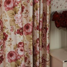 Luxuriant Bloom Country Floral Energy Saving Curtain  #floral #curtains #homedecor #interiordesign Printed Curtains, Floral Curtains, Drapes Curtains, English Cottage Style, Shabby Chic Interiors, Curtain Patterns, Beautiful Curtains, Vintage Shabby Chic, Decor Crafts