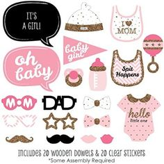Pink and Gold Baby Shower Photo Booth Props Kit - 20 Count