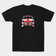A classic Atomic Penguin fashion t-shirt of the iconic Mini Cooper painted in the Union Jack flag colours with a grunge distressed vintage effect. Perfect tee f Funny Tee Shirts, Cool Shirts, T Shirt, Jack Flag, Classic Mini, Union Jack, Shirt Ideas, Penguin, Grunge